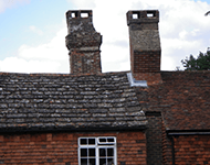 A roof and chimney defect